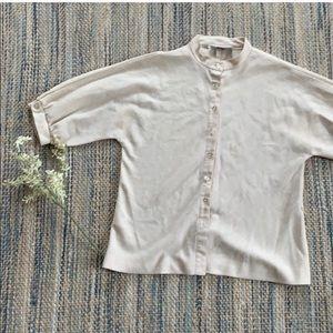 Vintage linen mandarin collar shirt
